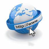 Koncept internetového prohlížeče. země a kurzoru — Stock fotografie