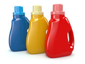 Plastic detergent bottles. Cleaning products. — Stock Photo