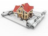 Residencieel huis op architect blauwdrukken. woningbouw project. — Stockfoto