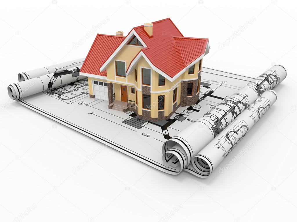 Residential house on architect blueprints. Housing project. 3d — Stock Photo #16830401