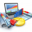 Business analyze. Laptop, graph and diagram. - Stock Photo