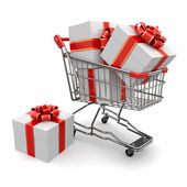 Gift in shopping cart — Stock Photo