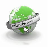 互联网浏览器的概念。地球和光标 — 图库照片