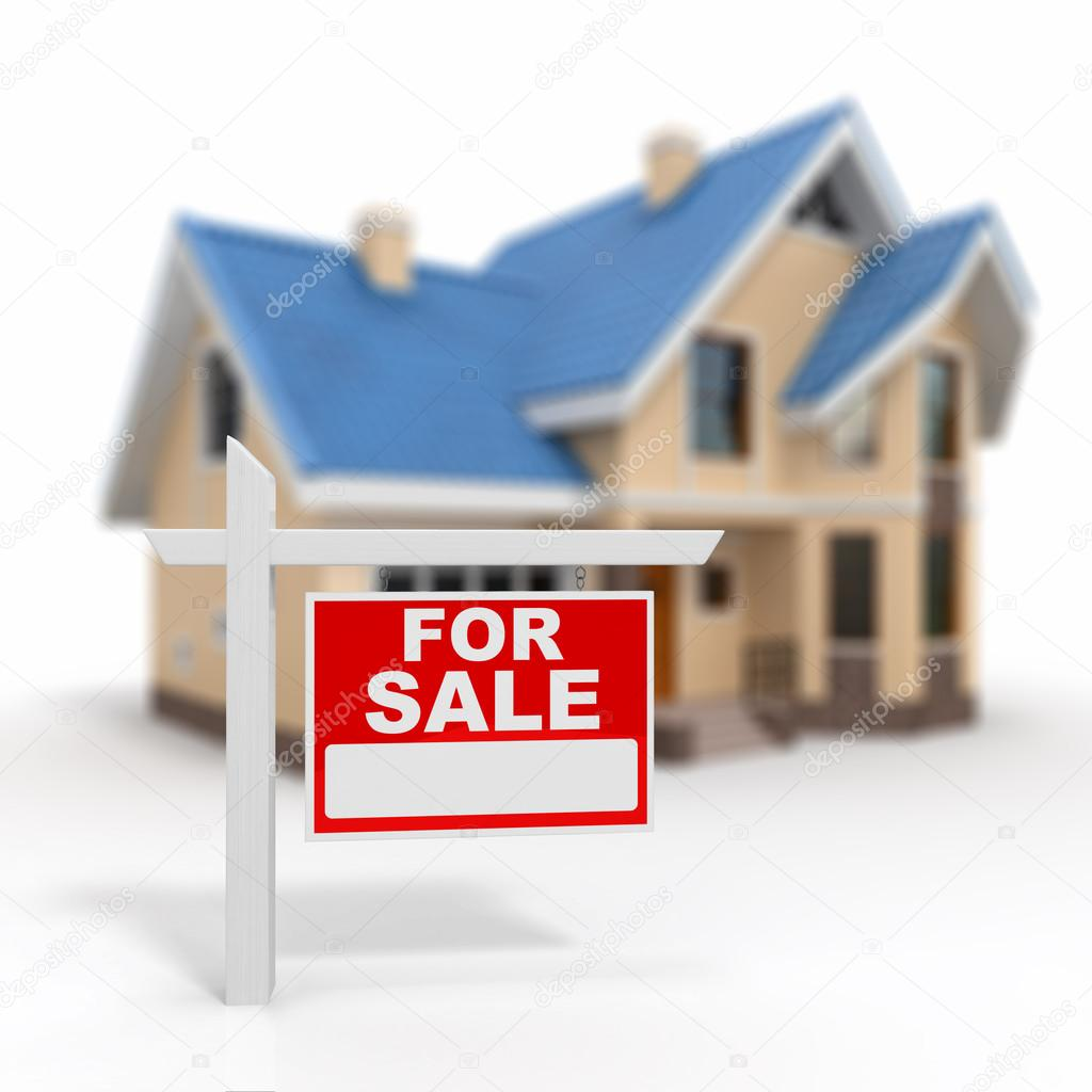 Home for Sale sign on white background. 3d  Stock Photo #18357883