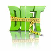 Tekst diety i taśma miernicza — Zdjęcie stockowe