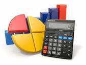Business analytics. Calculator and graphic — Stock Photo