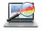 Business analyze. Laptop, loupe and diagram on screen — Stock Photo