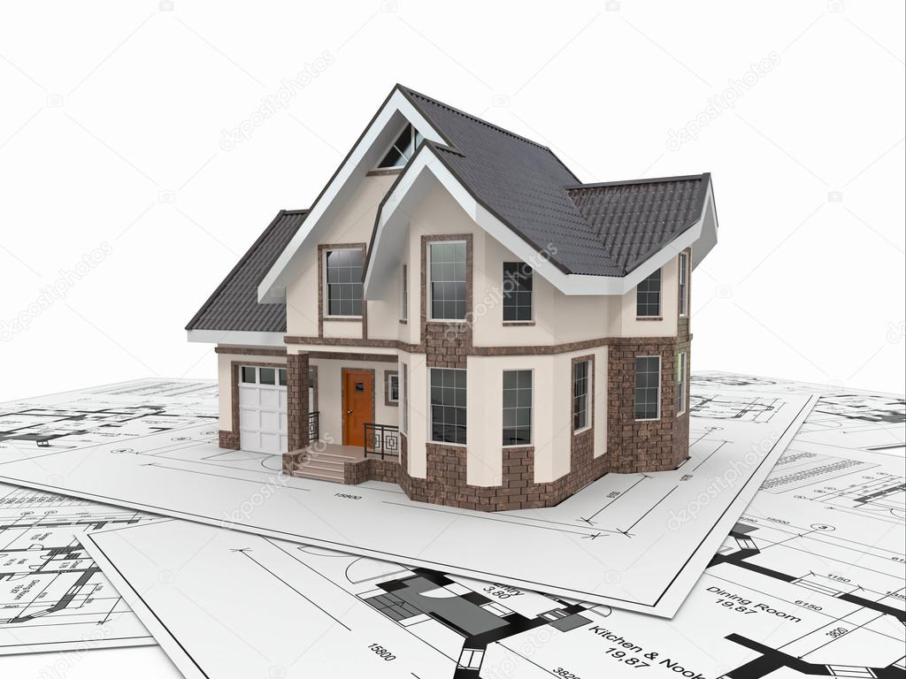 esidential house on architect blueprints. Housing project ... - ^