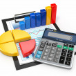 Business analytics. Calculator and financial reports. — Stock Photo #18972185