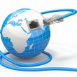 Global communication. Earth and cable, rj45. — Stock Photo #18972205