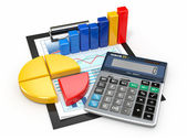 Analyse commerciale. rapports financiers et les calculatrice. — Photo