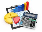 Nástroje business analytics. kalkulačka a finanční zprávy. — Stock fotografie
