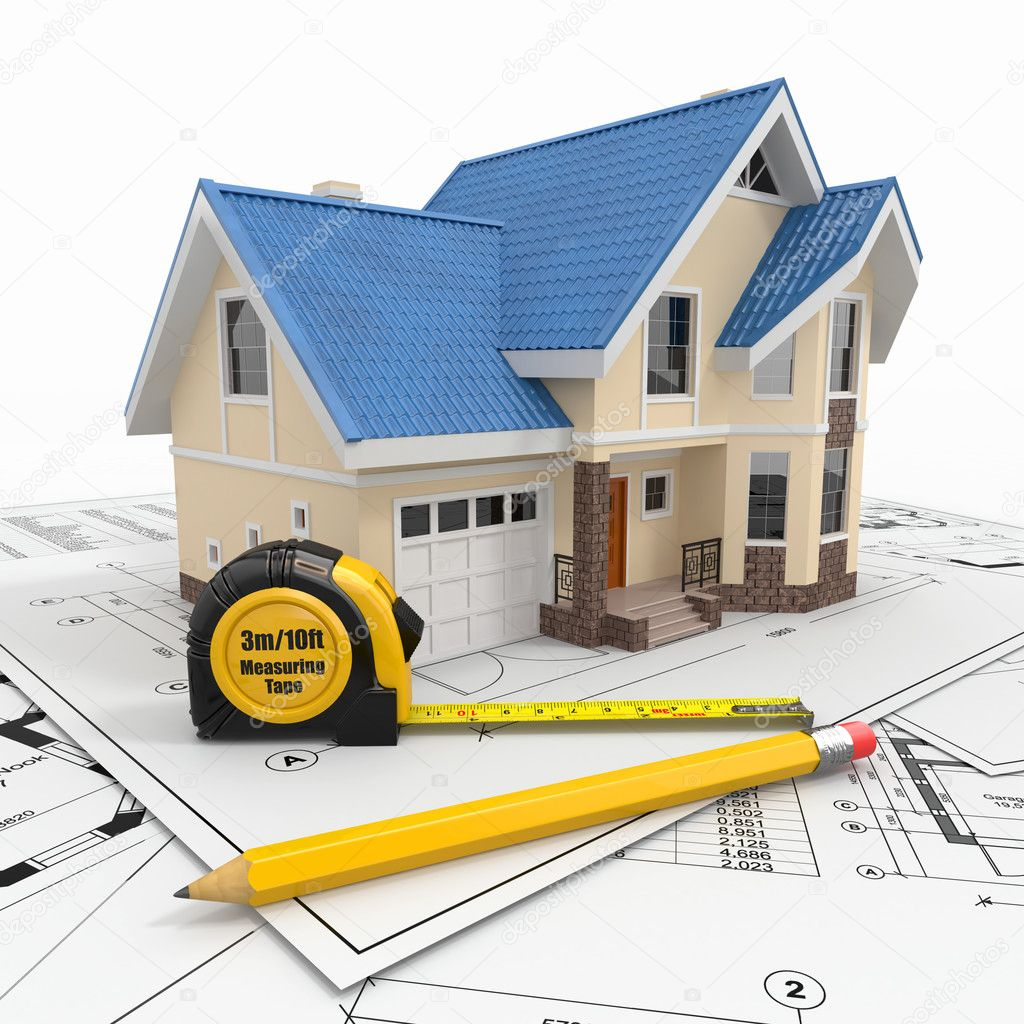 esidential house with tools on architect blueprints. — Stock ... - ^