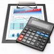 Business concept. Calculator, diagram, grapics and spreadsheet. — Stock Photo