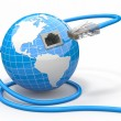 Stock Photo: Global communication. Earth and cable, rj45.