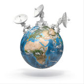 Satellite dishes on earth. 3d — Stock Photo