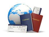Viaje del mundo. tierra, billetes de avión y pasaporte. 3d — Foto de Stock