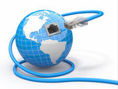 Global communication. Earth and cable, rj45. — Stok fotoğraf