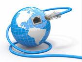 Küresel iletişim. dünya ve kablo, rj45. — Stok fotoğraf