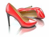 Kırmızı topuklu ayakkabı. 3d — Stok fotoğraf