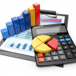 Stock Photo: Business analytics. Calculator and financial reports.