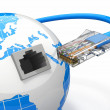 Global communication. Earth and cable, rj45. — Stock Photo #20030745