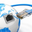 Global communication. Earth and cable, rj45. — Stock Photo