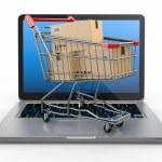 E-commerce. Shopping cart on laptop. — Stock Photo #20030751