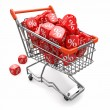 Discounts. Shopping cart and cubes with percent — Stock Photo