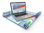 业务分析。手提电脑、 图形和图表. — 图库照片