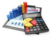 бизнес-аналитика. калькулятор и финансовые отчеты. — Стоковое фото
