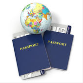 World travel. Earth, airline tickets and passport. 3d — Stock Photo