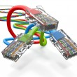Stock Photo: Three computer network cables rj45. 3d