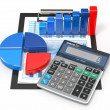 Business analytics. Calculator and financial reports. — Stock Photo #20592423