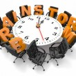 Royalty-Free Stock Photo: Concept of  brainstorm. Circle table as clock and armchairs