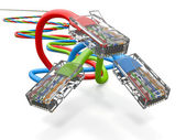 Three computer network cables rj45. 3d — Stock Photo