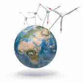 Wind turbine on Earth. 3d — Stock Photo