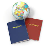World travel. Earth and passport on white background — Stock Photo