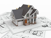 Residential house on architect blueprints. Housing project. — Stock Photo