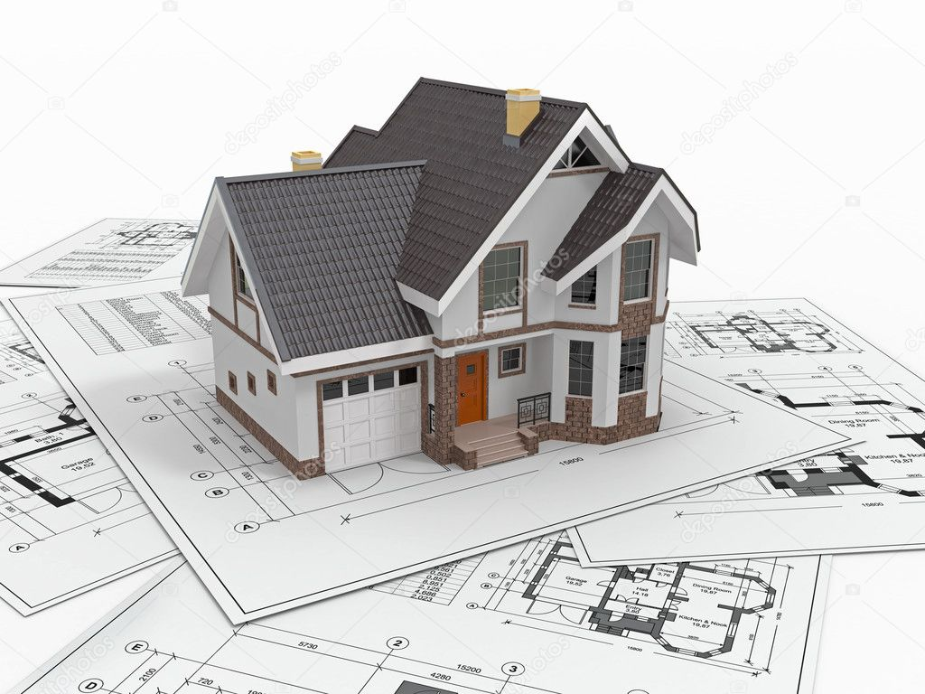 Residential House On Architect Blueprints Housing Project Stock Photo Maxxyustas 20592431