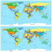世界政治地图。向量。在 3d 编辑器中使用扭曲. — 图库矢量图片