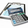 Financial concept. Stock chart, calculator and pen. — Stock Photo