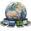 Internet. Global communication. Earth and laptop. 3d — Stock Photo