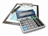 Financial concept. Stock chart, calculator and pen. — Stock Photo