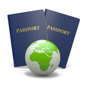 World travel. Earth and passport. 3d — Stock Photo