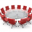 Concept of business meeting or brainstorming. Circle table and red armchairs - Stock Photo