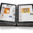 Newspaper or magazine from tablet pc. - ストック写真