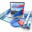 Business analyze. Laptop, graph and diagram. — Stock Photo