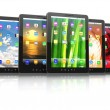 Group of digital tablet pc with different screen backgrounds — Stock Photo #21663973