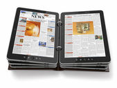 Newspaper or magazine from tablet pc. — Stock Photo